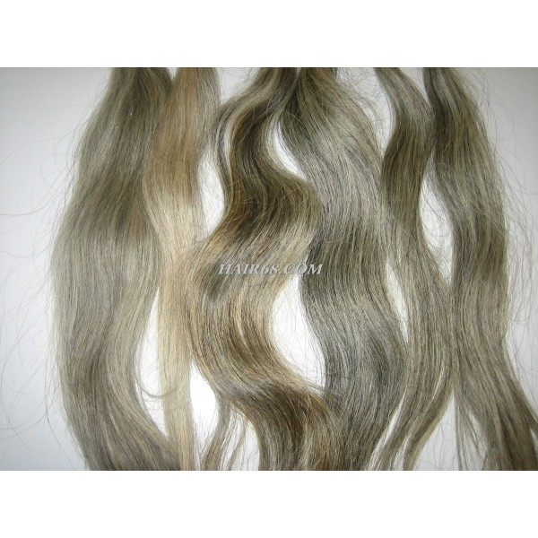 "Grey wavy hair/12""(30cm)/Top quality wholesale human hair with grey hair of Vietnam Remy Hair Company"