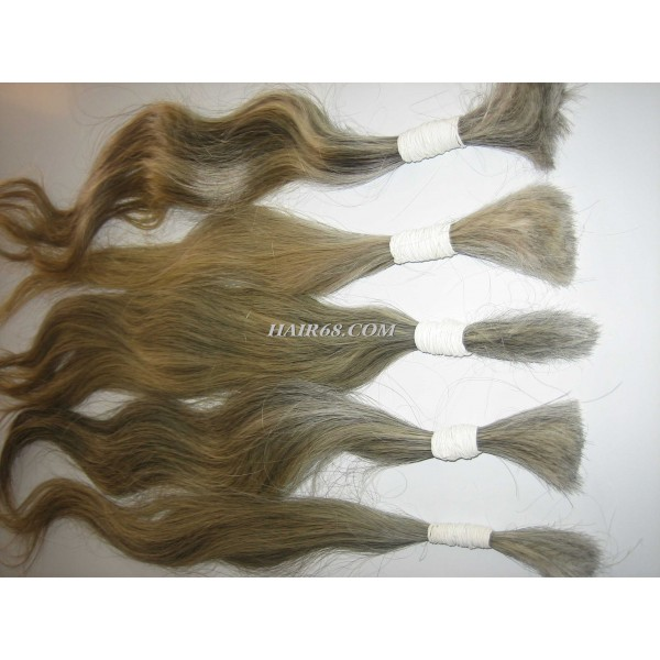 """Grey hair-28""""(70cm)-the best price best quality of machine wefted hair(single drawn)"""