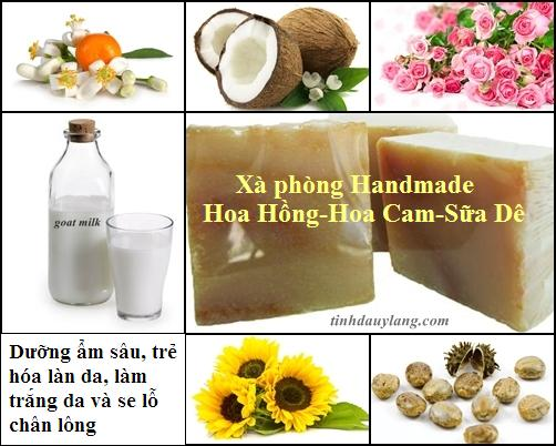 Mua Xà phòng Handmade Hoa Hồng - Hoa Cam - Sữa Dê