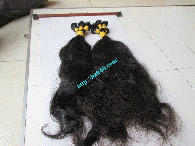 16 inch Hand Tied Human Hair Extensions Weft – Wavy Double
