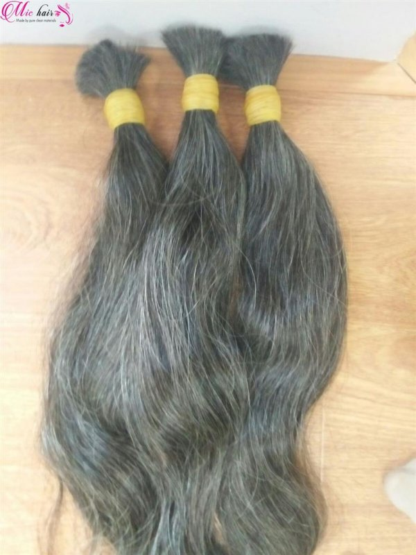 NATURAL GREY BULK HUMAN HAIR