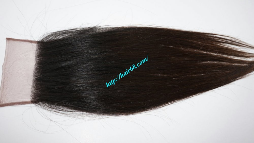 "Mua Closure hair 4X4 Single Black hair 14"" natural color"