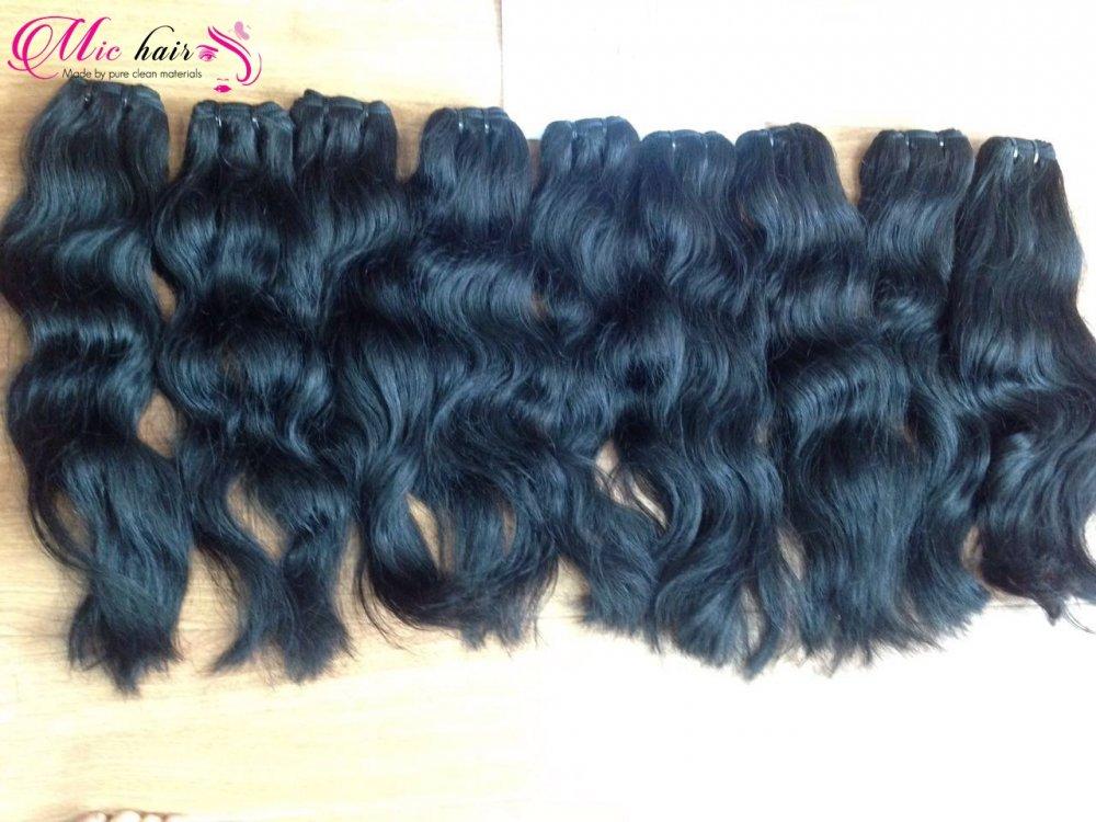 Mua Ntural wavy machine weft hair from Vietnam