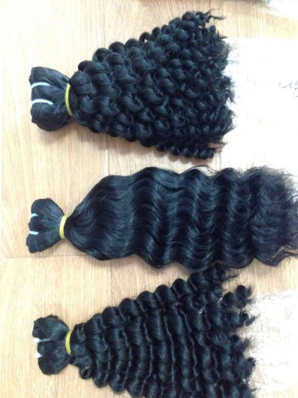 Wavy Wefted human hair no lice no smell vietnamese hair