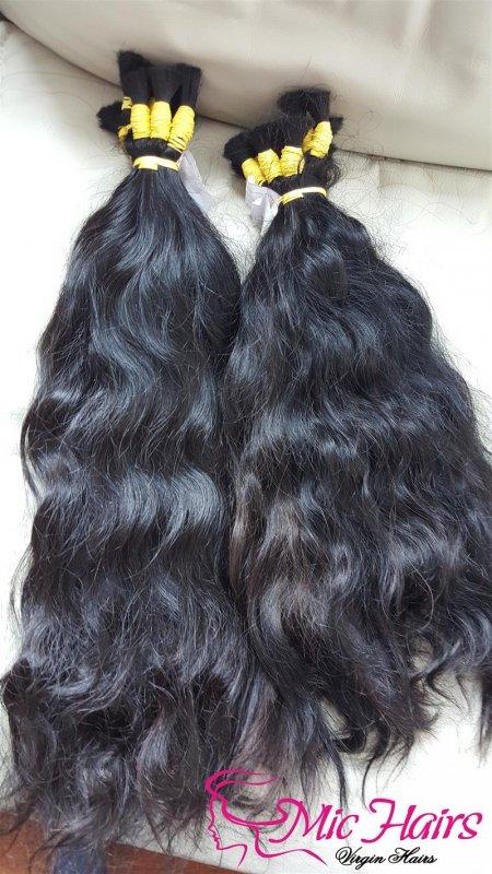 Mua Cambodian natural wavy bulk hair no tangle no shedding