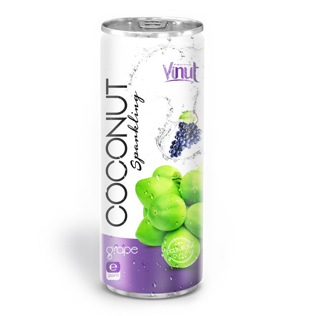 Купить 250ml Canned Premium Quality Coconut Sparkling Water with Grape juice
