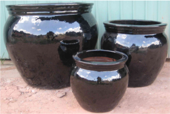 Mua Garden Planter - Stoneware - Shiny Black