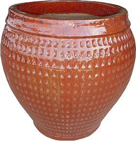 Round Garden Planter - Sunset Red
