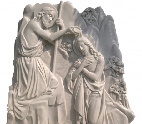 Baptism stone relief