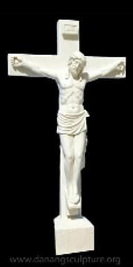 Mua Jesus on cross white marble statue