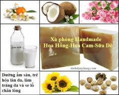 Xà phòng Handmade Hoa Hồng -  Hoa Cam - Sữa Dê
