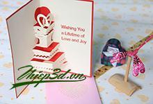 3D POP UP CARD WEDDING PW001