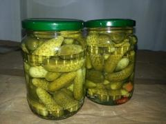 Pickled cucumber in jar