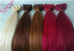 Colored machine weft human hair