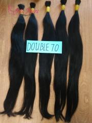 Straight double drawn natural human hair made in Vietnam