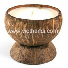 Coconut shell candles and stand