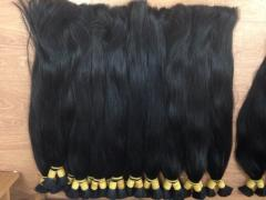 Black human hair bulk hair straight 55cm