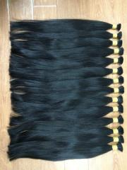 Soft black straight hair remy human bulk in full
