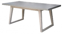 Rectangular table  accacia legs- fiber Cement concrete top