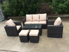 High quality PVC poly rattan synthetic sofa dining set