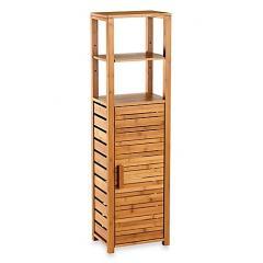Solid wood bathroom furniture tall caninet single rack