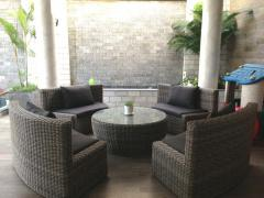 High quality PVC poly rattan synthetic sofa dining set