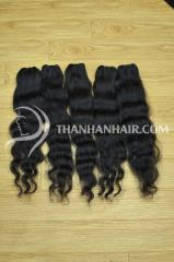 Double drawn straight curly wave weave high quality hair