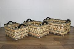 Set of 3 rectangular water hyacinth mix seagrass baskets SD3812D/3MC