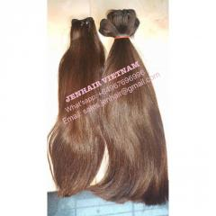 Light brown straight bulk hair.