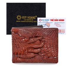 Bóp nam Huy Hoàng da cá sấu gù chân màu nâu đỏ