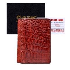Bóp nam Huy Hoàng da cá sấu kiểu đứng gai lưng màu nâu đỏ