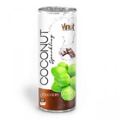 250ml Canned Premium Quality Coconut Sparkling Water with Chocolate juice