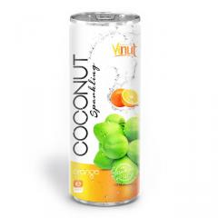 250ml Canned Premium Quality Coconut Sparkling Water with Orange juice