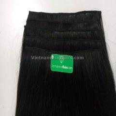 Clip in human hair extensions natural color 18 inches