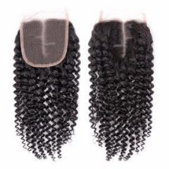 4×4 inches kinky curly closure hair extensions high quality