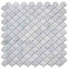 Fish Scale White Marble Mosaic Tile