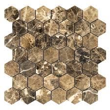 Dark Emperador Hexagon Stone Mosaic
