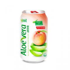 Premium Quality 330ml Canned VINUT brand's Vietnam Aloe Vera With Peach Juice Good For Health