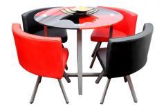Bàn ăn Đỏ đen 4 ghế