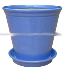 Ceramic pot with saucer blue