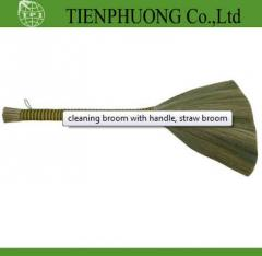 Cleaning broom with handle, straw broom