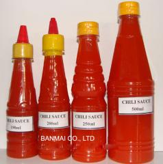 Chili sauce in bottle