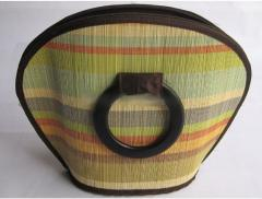 Bamboo handbag with wooden handles