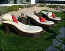 Sintetic rattan sunbed furniture