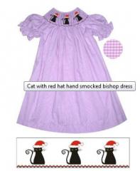 Cat with red hat hand smocked bishop dress