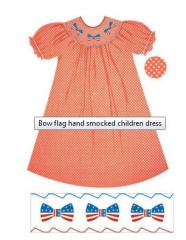 Bow flag hand smocked children dress