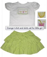 Orange t shirt and skirts set for little girl