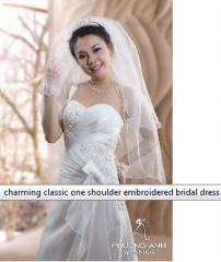 Charming classic one shoulder embroidered bridal
