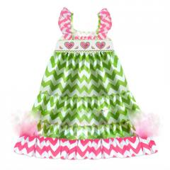 Lime green chevron baby smocked dress DR 1183