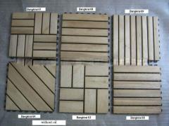 Wooden acacia deck tiles